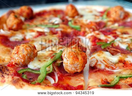 Delicious Pizza With Meatballs And Salami