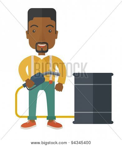 An african businessman standing beside the oil can with pump. A Contemporary style. Vector flat design illustration isolated white background. Vertical layout.