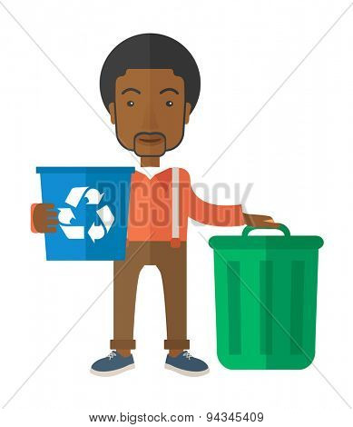 A black man standing outside the house sorting a trash and will throw to the garbage bin. Eco-friendly. A Contemporary style. Vector flat design illustration isolated white background. Vertical layout