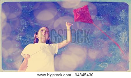 Instagram girl flying a kite in a park with blue sky and texture