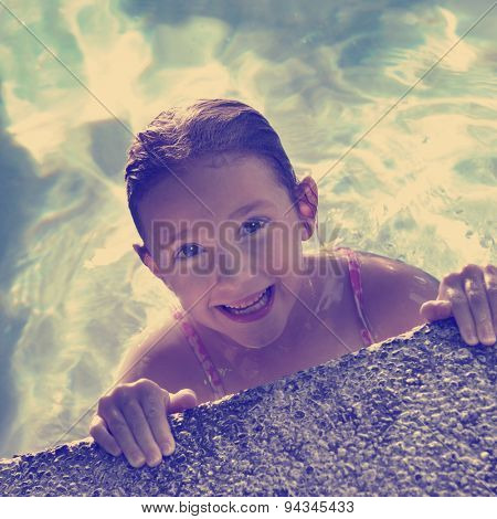 Instagram young girl in swimming pool with wet hair