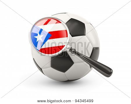 Football With Magnified Flag Of Puerto Rico