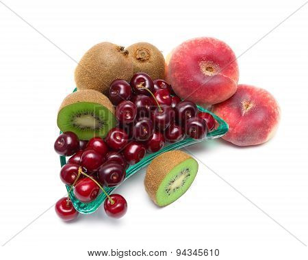 Fresh Juicy Fruits Closeup On A White Background