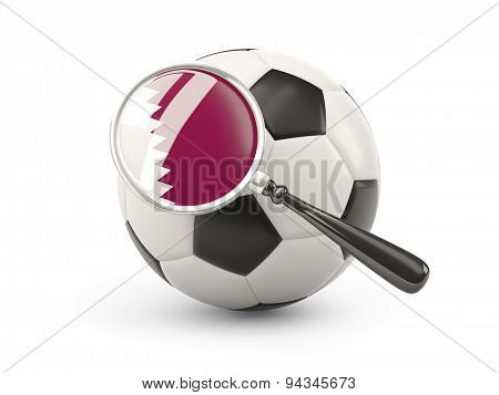 Football With Magnified Flag Of Qatar