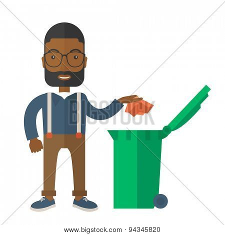 A black man throwing a crumpled paper in a green garbage bin. A Contemporary style. Vector flat design illustration isolated white background. Square layout.