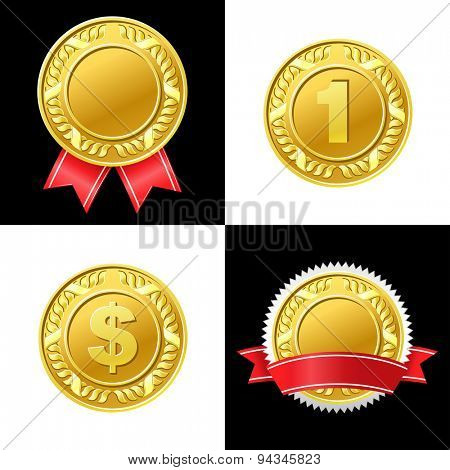 Gold Coin Medal Vector Icon