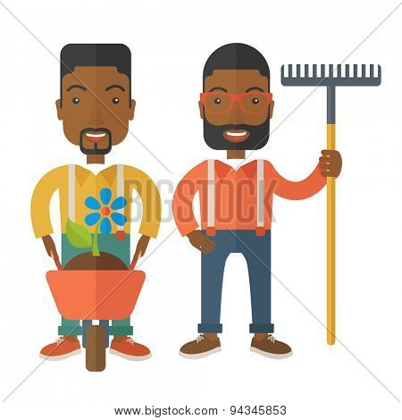 Two black smiling gardener carries a plant in wheelbarrow and holding a rake. A Contemporary style. Vector flat design illustration isolated white background. Square layout