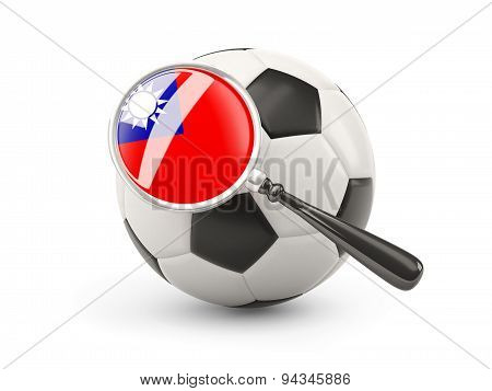 Football With Magnified Flag Of Republic Of China