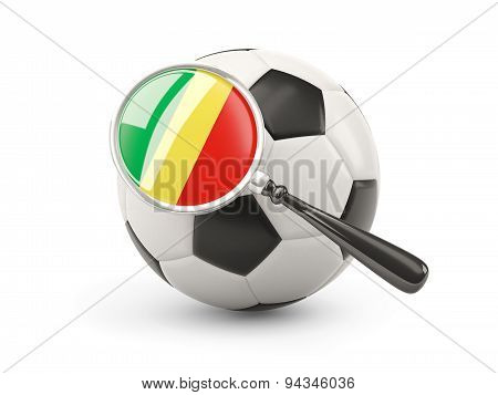 Football With Magnified Flag Of Republic Of The Congo