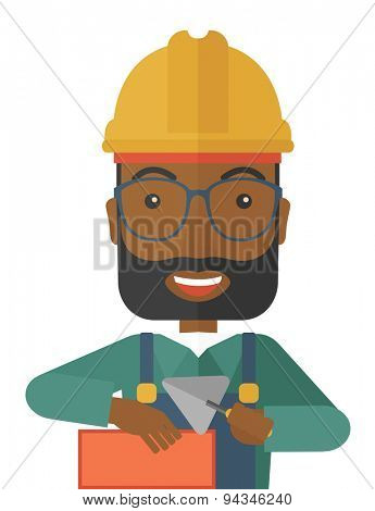 A happy black construction mason worker with trowel in hand wearing hard hat. A Contemporary style. Vector flat design illustration isolated white background. Vertical layout.