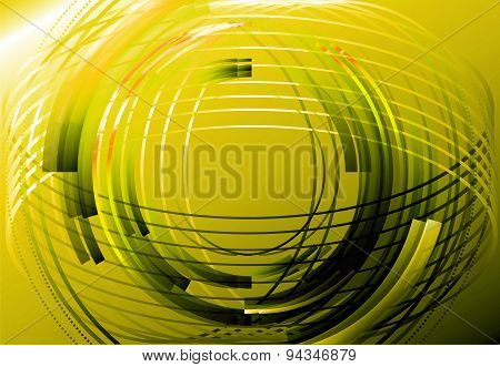 Abstract business technology yellow circle line