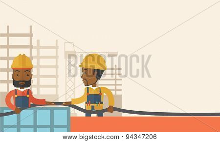 Two black young builders wearing hard hat for their safety ladders use for construction. A Contemporary style with pastel palette, soft beige tinted background. Vector flat design illustration