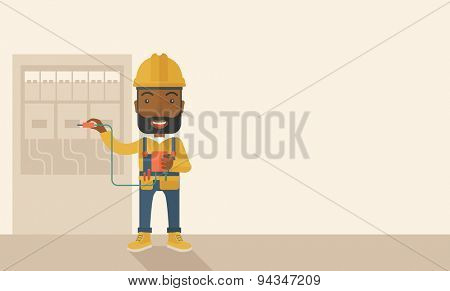 A black Electrician wearing hard hat repairing an electrical panel. A Contemporary style with pastel palette, soft beige tinted background. Vector flat design illustration. Horizontal layout with text