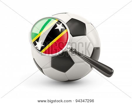Football With Magnified Flag Of Saint Kitts And Nevis