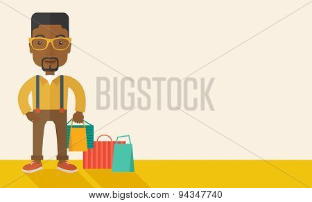 A black guy who go shopping with paper bags. A Contemporary style with pastel palette, soft beige tinted background. Shopping concept. Vector flat design illustration. Horizontal layout with text
