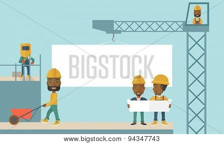 An experienced team of black workers with white board wearing helmets. A Contemporary style with pastel palette, soft blue tinted background. Vector flat design illustration. Horizontal layout.