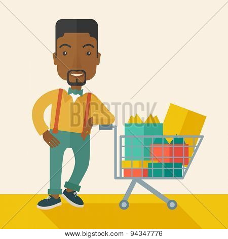 A happy african-american man standing with his shopping cart. . A Contemporary style with pastel palette, soft beige tinted background. Vector flat design illustration. Square layout.