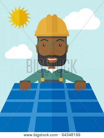 An african man putting a solar panel on the roof as a alternative energy system. A Contemporary style with pastel palette, soft blue tinted background with desaturated cloud.  Vector flat design