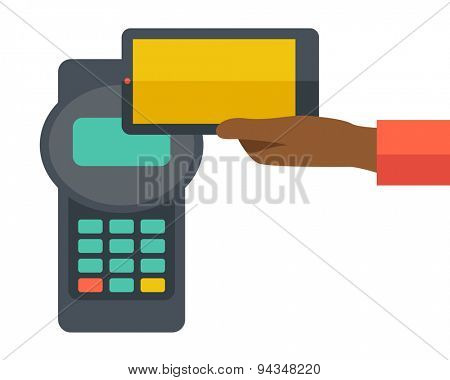 A credit card machine and smartphone as use for internet shopping. A contemporary style. Vector flat design illustration with isolated white background. Square layout.