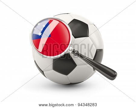 Football With Magnified Flag Of Samoa