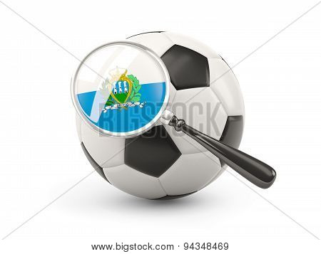 Football With Magnified Flag Of San Marino