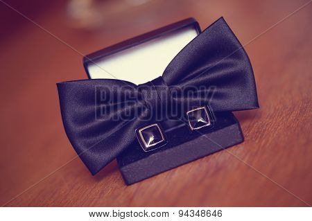 Black Cuff Links And Bowtie
