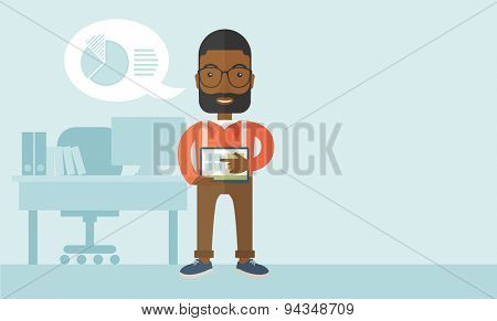 A, african-american man standing while his hand pointing to the tablet to do his office presentation with the schedule of financial market. Business concept. A Contemporary style with pastel palette