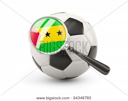 Football With Magnified Flag Of Sao Tome And Principe