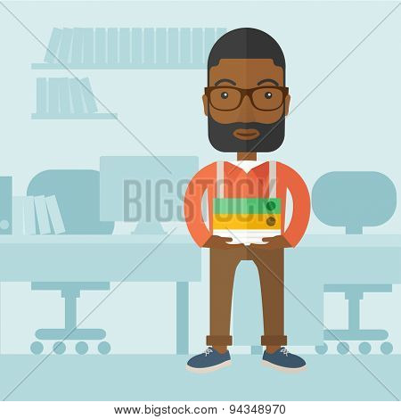 A Black man standing while holding book files ready for his business presentation.  Planning concept. A Contemporary style with pastel palette, soft blue tinted background. Vector flat design