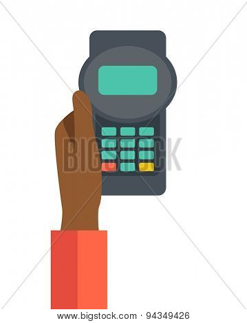 A black hand holding the credit card machine. A contemporary style. Vector flat design illustration with isolated white background. Vertical layout