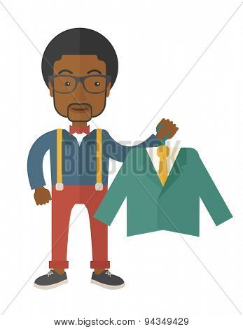 A happy young african man chooses a perfect clothe to buy for him to wear. A contemporary style. Vector flat design illustration with isolated white background. Vertical layout