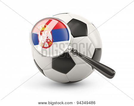 Football With Magnified Flag Of Serbia