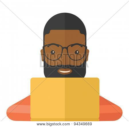 An african man making a purchase using laptop with internet in online shopping with promo discount. A contemporary style. Vector flat design illustration with isolated white background. Square layout.