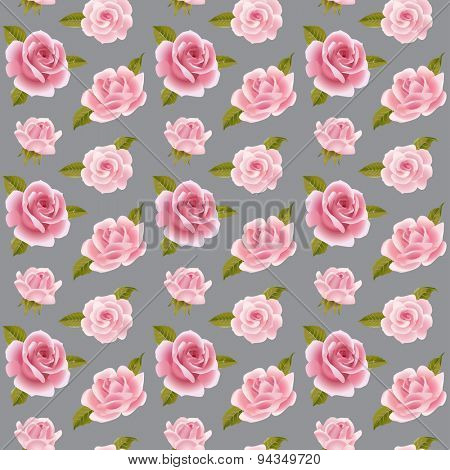 Vintage vector pink roses seamless pattern