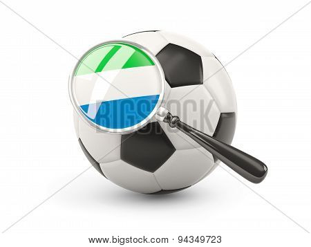 Football With Magnified Flag Of Sierra Leone