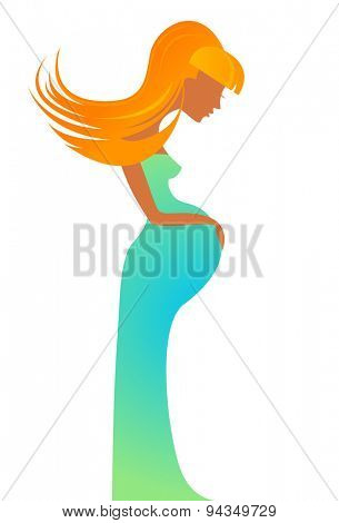 Stylized vector symbol of a pregnant woman.