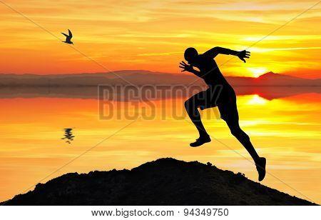 Man doing gymnastics on the lake
