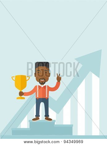 An african businessman proudly standing on the winning podium holding up winning trophy and showing an arrow pointing upward as his success. Winner concept. A Contemporary style with pastel palette