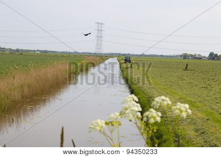 Grassland With Tractor And Ditch