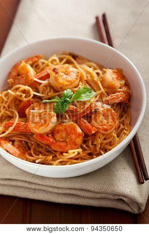 Thai Rice Noodles With Shrimps