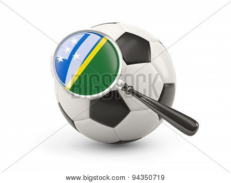 Football With Magnified Flag Of Solomon Islands