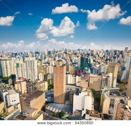 View of San Paolo skyline on suny day, Brazil. Latin Amerca.