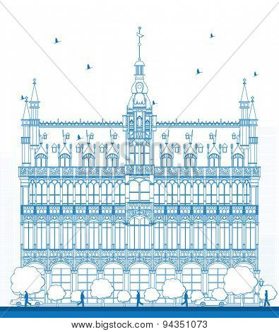 Outline Building Maison du Roi (King's House, 1887) on Grand Place square (Grote Markt). Brussels, Belgium. Now this building houses Museum of the City of Brussels. Vector illustration
