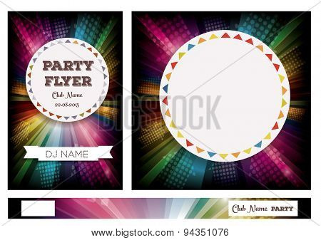 Club Flyers with copy space and rainbow background. Vector illustration