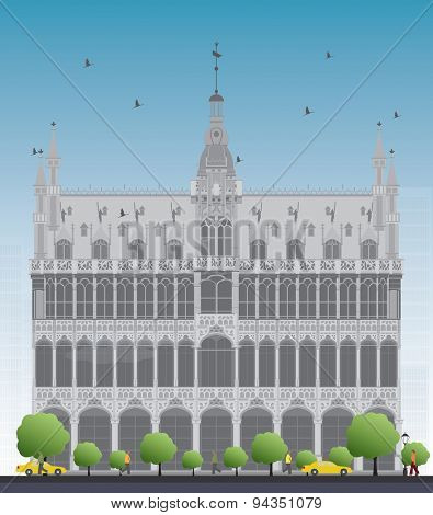 Building Maison du Roi (King's House, 1887) on Grand Place square (Grote Markt). Brussels, Belgium. Now this building houses Museum of the City of Brussels. Vector illustration