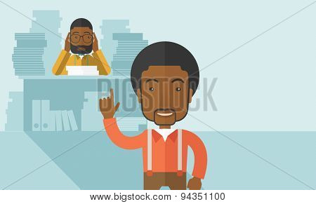 A black office clerk has a lot of works to do with those papers infront of him, problem on how to meet the deadline of his report. Disappointment concept. A Contemporary style with pastel palette