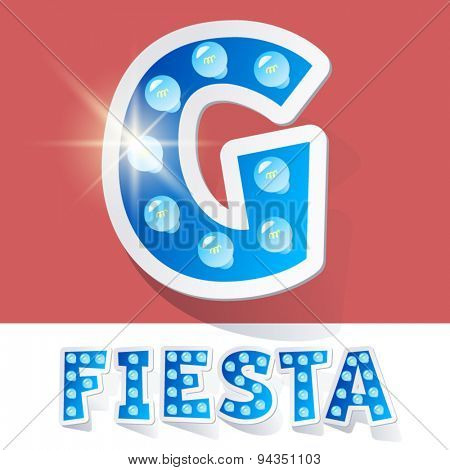 Funny lamp cartoon alphabet for party, holiday and celebration. Sticker style. Letter G