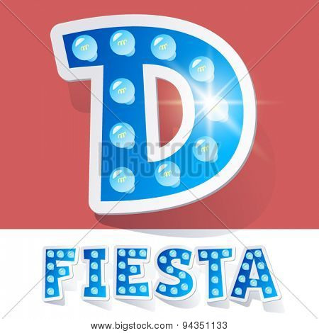 Funny lamp cartoon alphabet for party, holiday and celebration. Sticker style. Letter D