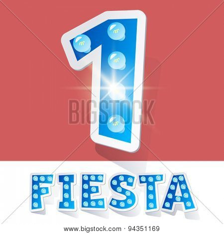 Funny lamp cartoon alphabet for party, holiday and celebration. Sticker style. Number 1