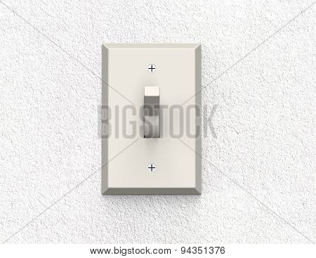 Light Switch Isolated On A Wall